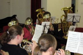 Image of our youth band rehearsaing in January 2011